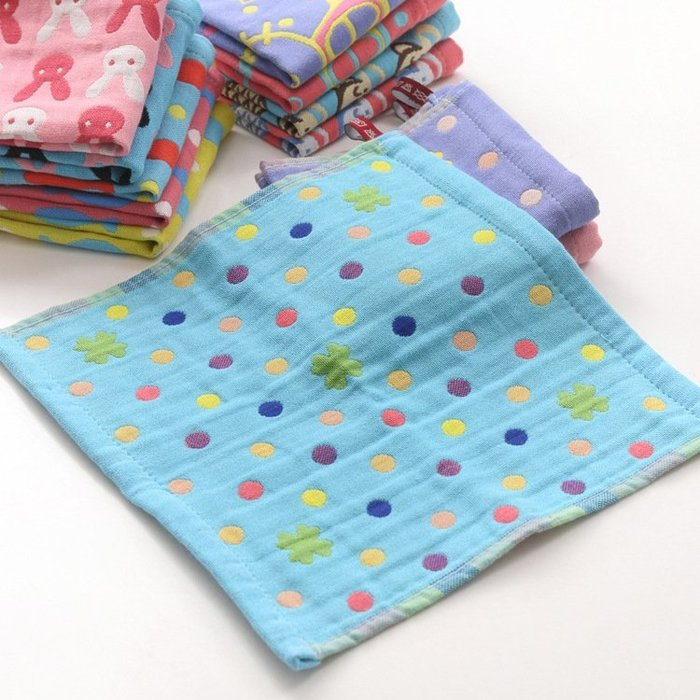 *純棉三層纱布小方巾寶寶餵奶巾/擦臉巾/幼兒園掛巾=可挑款:26*26cm