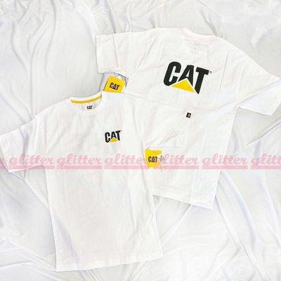 glitter。全新現貨 Caterpillar Cat Trademark Logo 白色 T恤 美國工裝老牌 卡特