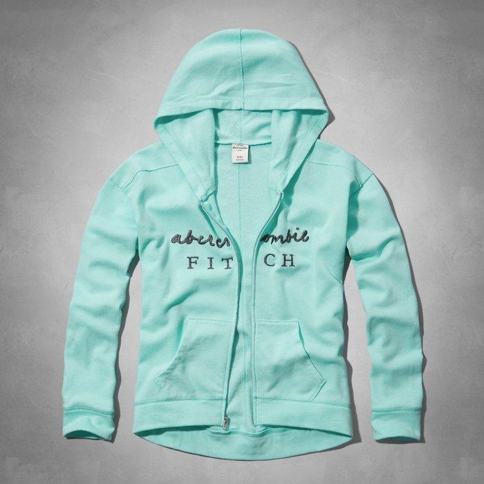 Maple麋鹿小舖 abercrombie&fitch * a&f 女童款綠色電繡連帽外套 * ( 現貨XL號 )