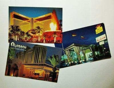 6張全新精美懷舊美國賭城拉斯維加斯+羅馬博物館+澳門威尼斯人酒店超靚紀念Postcards