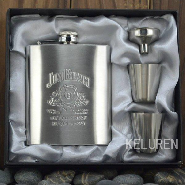 【mini plus】禮盒裝J款灰禮盒 7盎司不銹鋼便攜酒壺 男士隨身酒壺 俄羅斯軍人用 父情節