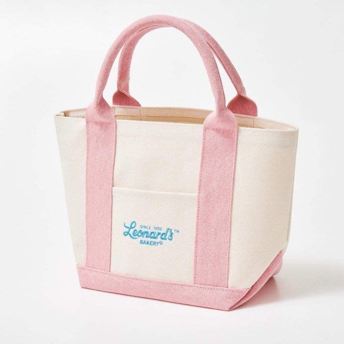 [瑞絲小舖]~日雜附錄Leonard`s BAKERY經典粉紅色提袋 托特包 帆布包 手提包 手拎包