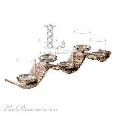 【芮洛蔓 La Romance】 Mindy Brownes - L色系列波浪造型五燭台 / 擺飾