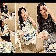 【AIMANUY-艾曼妞服飾】【60現貨+預購】韓版不規則下擺蕾絲假兩件套拼接雪紡衫G10