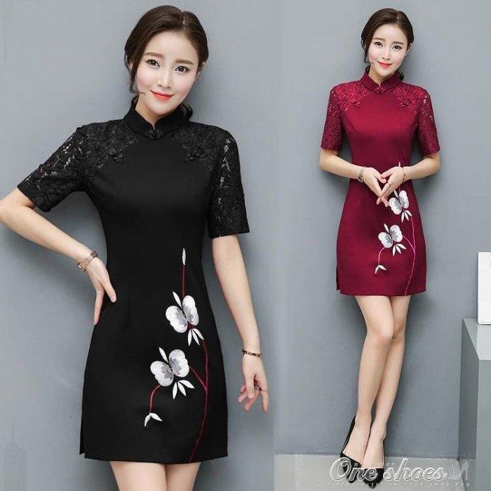 立領復古刺繡短袖洋裝中長款蕾絲旗袍修身顯瘦中裙