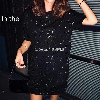 Lifetime~~韓國專櫃韓國2019夏季ZIT寬松顯瘦中長ins潮閃閃五角星開叉短袖小眾T恤女
