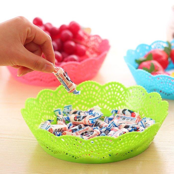 歐式鏤空花邊紋瓜果盤多功能零食糖果盤干果水果收納盤廚房果蔬盤