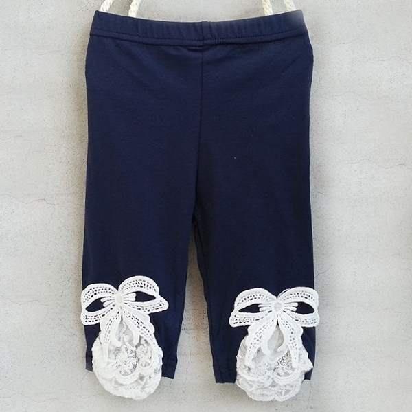 【班比納精品童裝】下擺蝴蝶結布蕾絲內搭褲-藍 【BM150708005】