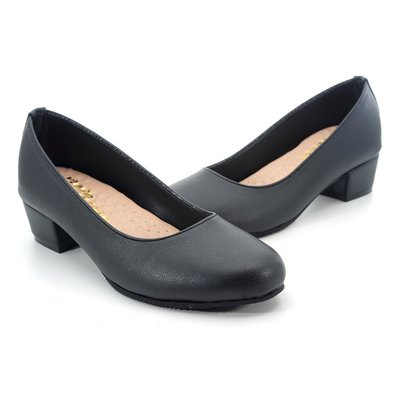 ❤含運 ❤│鞋念 美人館 MIT簡約素面基本款舒適低跟包鞋-黑色36-40碼【4160-89】