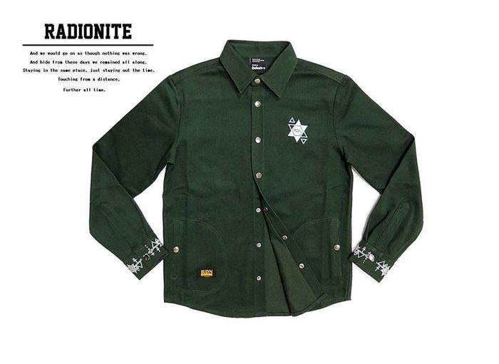 美國東村【RADIONITE】GURUGURU Shirt 幾何電繡重磅襯衫 復古墨綠