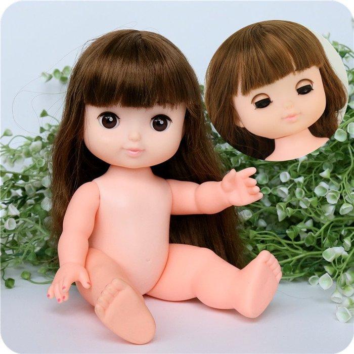 【小黑妞】女孩聖誕禮物-素體裸娃-長髮會眨眼睛娃娃(像米妮款)--可以穿賣場所有小美樂衣服【現貨-隨機送衣服】
