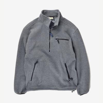 已售出L.L Bean Fleece smock 刷毛 灰 素面 中層衣 罩衫 戶外高領 pullover SNAP-T