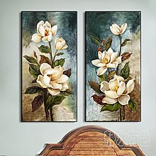 現代花卉壁畫玄關裝飾畫豎版牆畫過道走廊創意掛畫臥室壁畫防水(兩款可選)