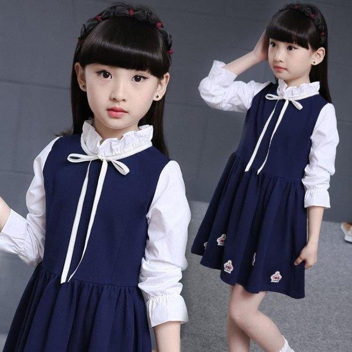 中大尺碼女童洋裝 學院風長袖連身裙時尚修身公主裙韓版中長款 DR29806【全場免運】