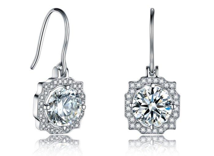 鑽石耳環2克拉 不過敏 結婚 情人節禮物 鑽石高仿真鑽石純銀戒指 首飾   FOREVER鑽寶