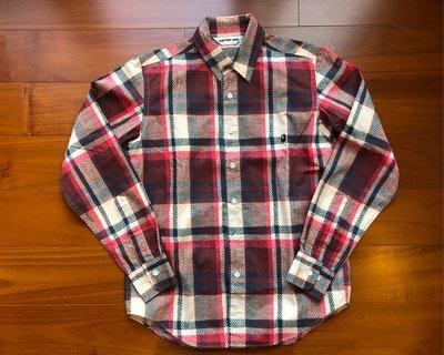 Bape Ape Check 經典 木村格紋 設計 似法蘭絨質感 長袖襯衫 S號 日本製