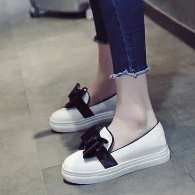 厚底鬆糕鞋內增高女鞋甜美蝴蝶結淺口單鞋休閒懶人鞋