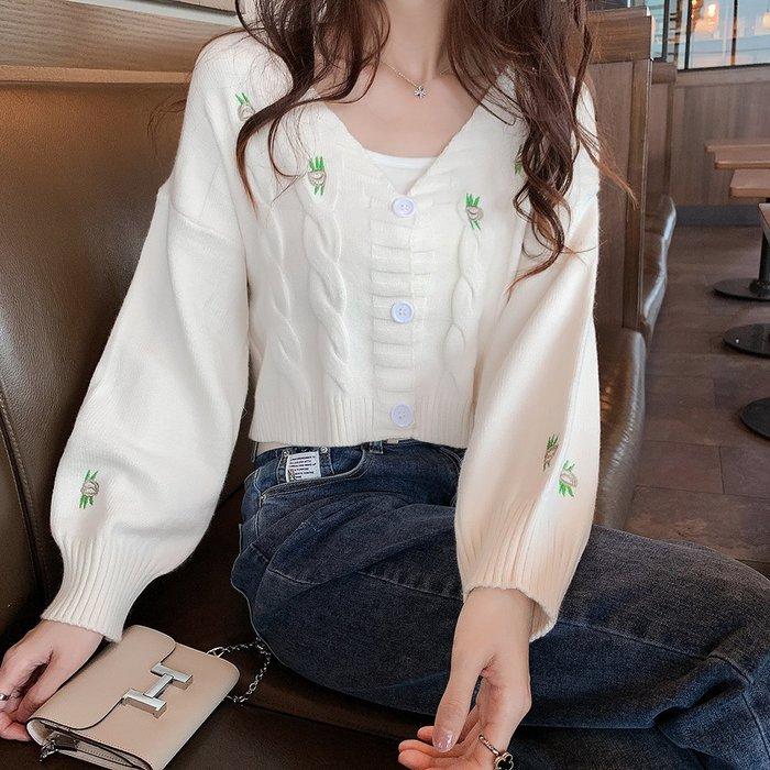 ❤Princess x Shop❤小清新v領百搭刺繡麻花親膚短版針織外套TS22-49-9