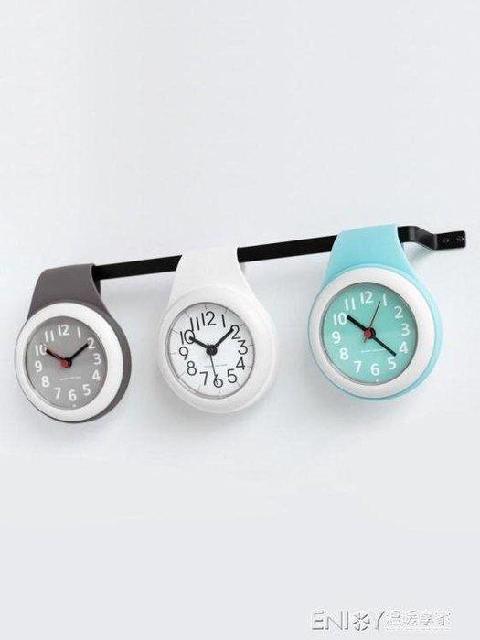 「特惠狂歡購」掛鐘北歐吸盤鐘錶廚房靜音家用防水衛生間浴 【粉紅記憶】