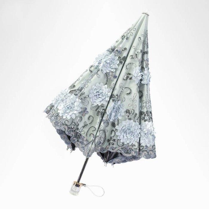 粉紅玫瑰精品屋~高檔刺繡蕾絲公主陽傘折叠晴雨傘~二折傘