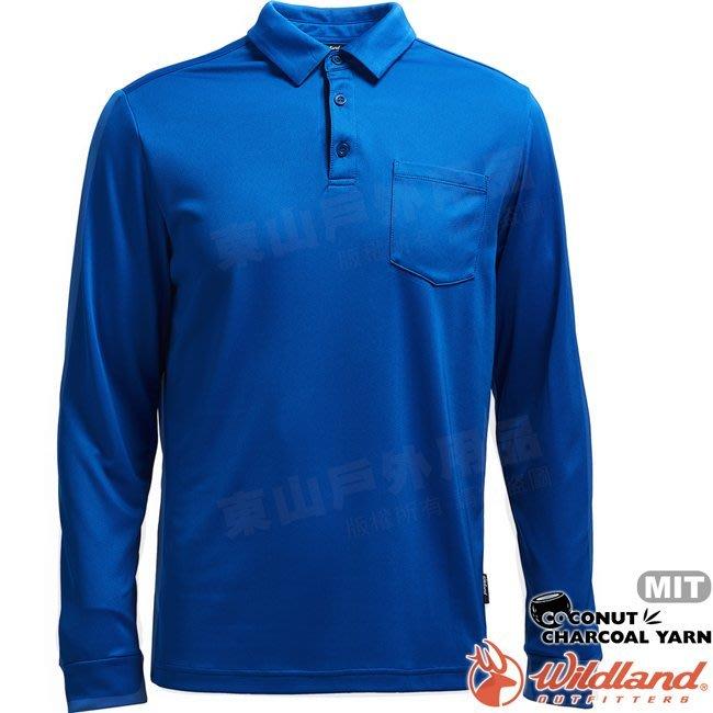 Wildland 荒野 0A71656-77中藍色 男椰炭紗本布領長袖上衣 椰碳纖維/抗UV/涼爽散熱/POLO衫