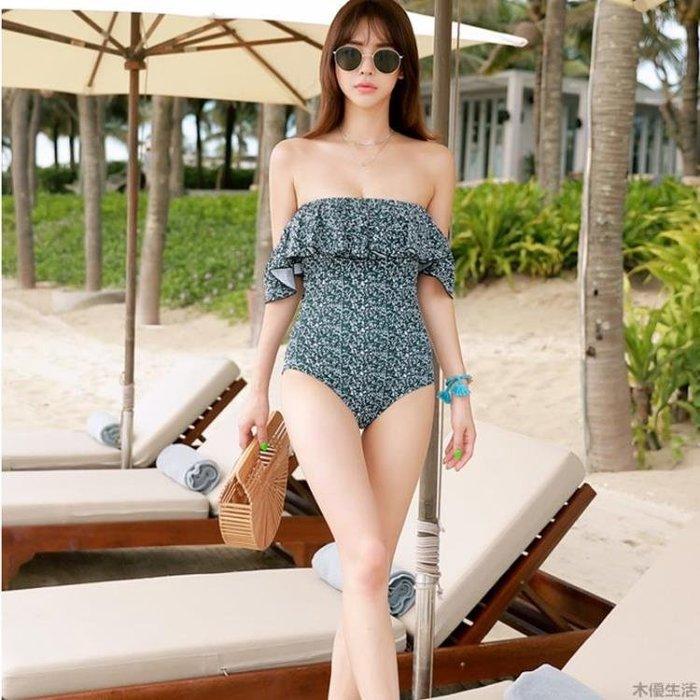 韓國新款抹胸式荷葉邊露肩連體泳衣女大小胸性感保守時尚溫泉泳裝MUYOU-226