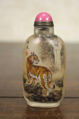 悅年堂 --- 玻璃 內畫 馬少宣 十二生肖 虎 鼻煙壺