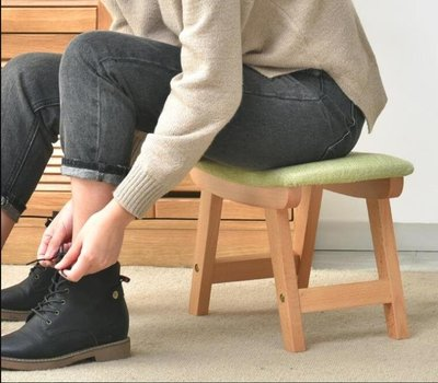 初木實木小凳子客廳創意小板凳家用成人穿鞋凳沙發換鞋凳布藝矮凳 IGO