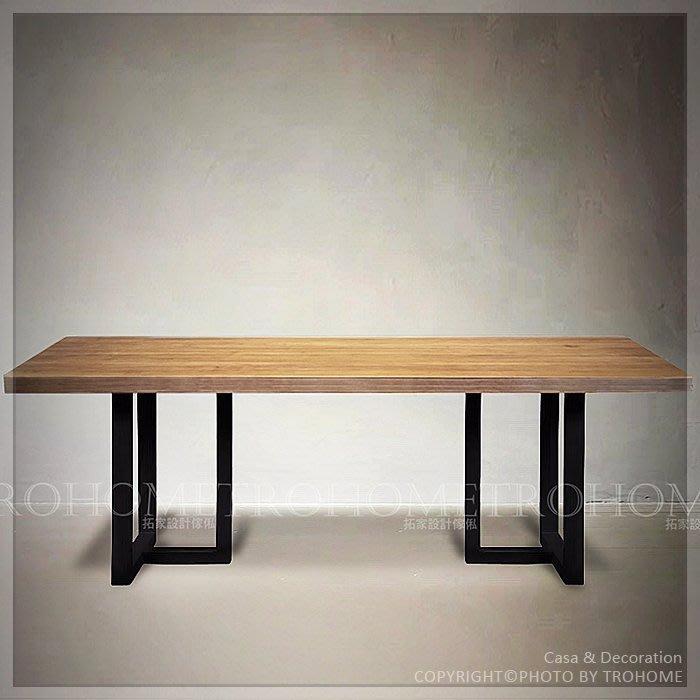 【拓家工業風家具】可訂製-經典復刻方框鐵腳實木桌/LOFT長桌辦公桌電腦桌工作桌/美式復古咖啡店北歐會議桌餐桌餐椅書桌