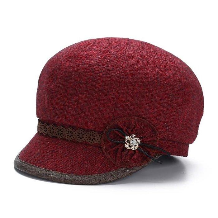 中老年人帽子女春秋短檐薄款貝雷帽老人帽子奶奶休閒帽媽媽帽夏