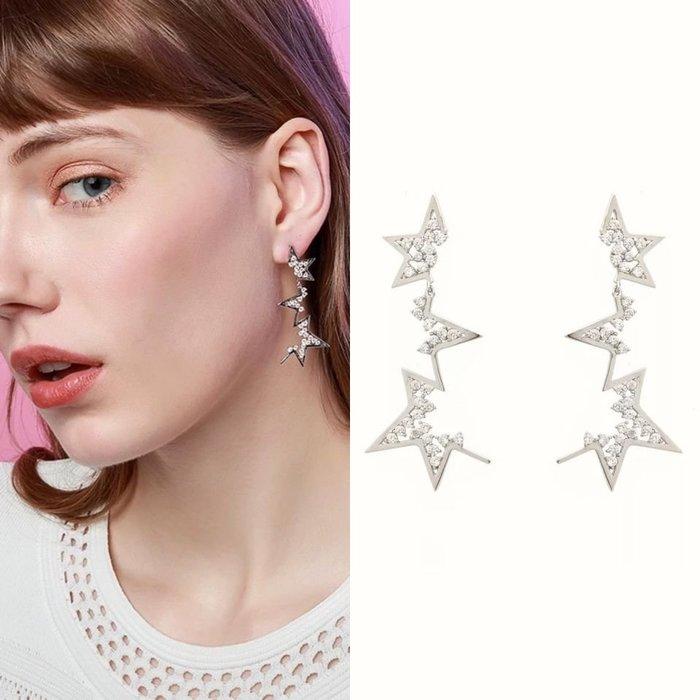 💎1458、絕版-abstract star概念極致氣質美感滿天星微鑲耳環💎正韓飾品 耳環 珠寶 925純銀針