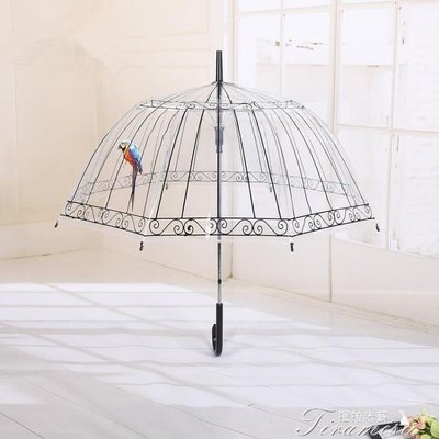 ZIHOPE 日繫洛麗塔LOLI宮廷復古鳥籠蕾絲印花透明雨傘長柄傘直柄傘洋傘ZI812