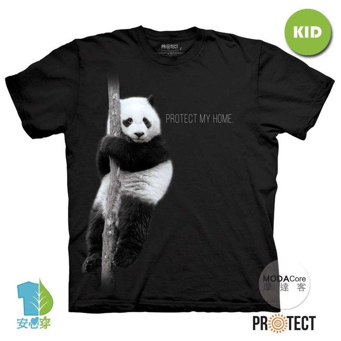 摩達客-(預購)美國The Mountain保育系列 熊貓的家 兒童黑色純棉短袖T恤-TMP190104033