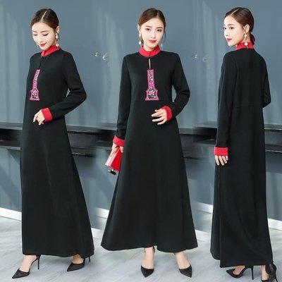 實拍秋寬鬆連身裙女中長款繡花針織連身裙打底羊毛裙洋裝