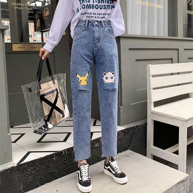 FINDSENSE 正韓女裝 夏季 寬鬆 小直筒 G6 淺色 淺藍直筒牛仔褲 顯瘦哈倫褲 女性 中高腰九分褲 女褲 長褲