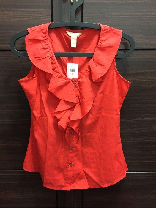 全新未穿 BANANA REPUBLIC 紅色荷葉領削肩襯衫 XS號
