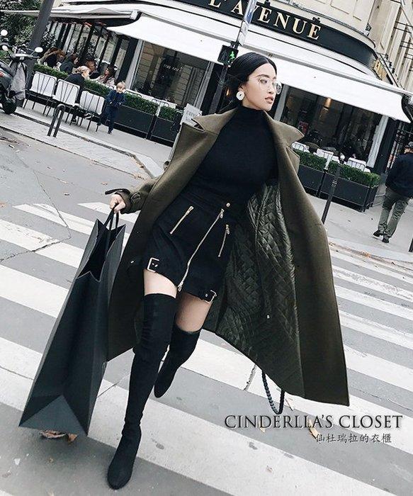 《仙杜瑞拉的衣櫃》c0392 長版寬鬆款 軍綠色加棉厚款 毛呢大衣