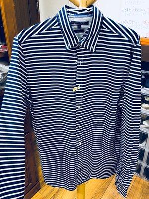 Tommy 橫條藍白間隔長袖襯衫s號