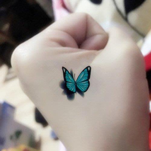 禧禧雜貨鋪*3D彩色蝴蝶 紋身貼防水 女 逼真持久遮疤痕 性感刺青立體紋身貼紙#紋身貼
