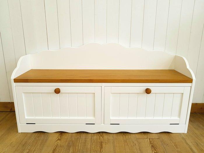 松木座椅櫃 實木 收納櫃 置物櫃 **樂在幸福** 木作坊~A166~松木白色搭柚木雙色收納椅櫃