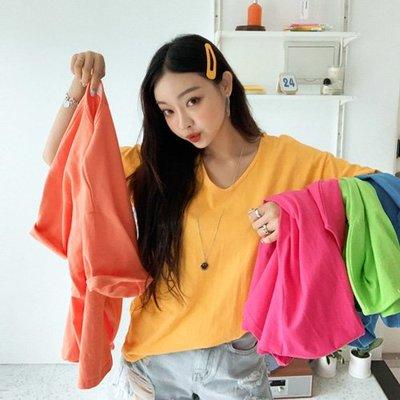 韓國空運V領棉T 正韓 就是要這樣穿自我螢光色系100%存棉T 艾爾莎 【TG300241】