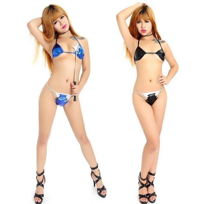 MIX style SHOP【S-235】夏日迷情❤燙金亮面性感比基尼綁帶皮泳裝/可調節金屬鍊條扣環丁字褲套裝~(3色)
