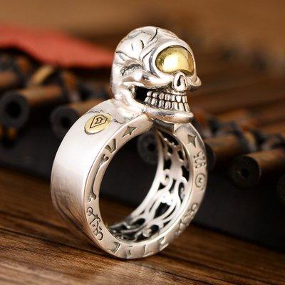 加恩s925銀飾純銀復古霸氣潮男款骷髏頭內鏤空戒指-zz09
