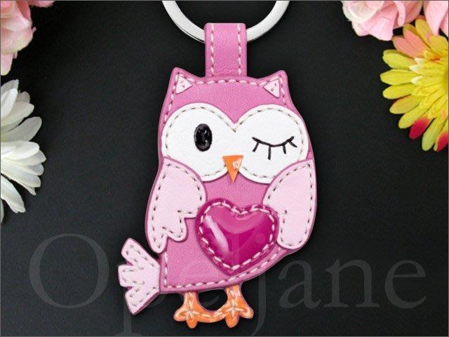 美國真品 COACH KEY RING 粉紅色真皮可愛貓頭鷹鑰匙圈鑰匙環 愛Coach包包