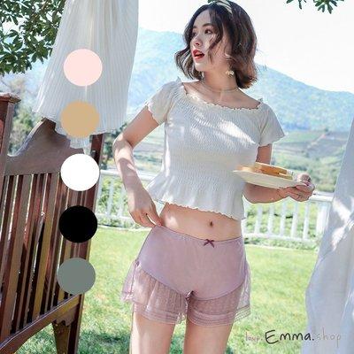 EmmaShop艾購物-日韓美人春夏柔軟蕾絲拼接絲綢內搭褲/安全褲/居家褲