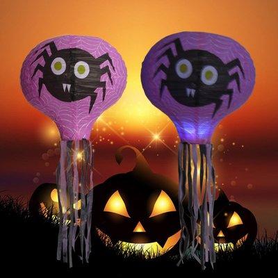 萬聖節紙燈籠發光南瓜燈熱氣球LED幼兒園立體巫婆場景布