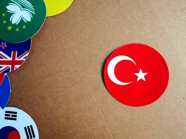 【國旗貼紙專賣店】土耳其國旗圓形旅行箱貼紙/抗UV防水/Turkey/多國款可收集和客製