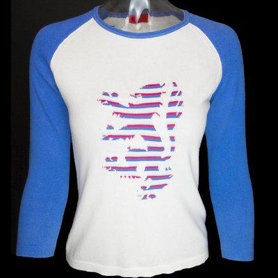 蘇格蘭品牌Pringle of Scotland 藍色拼接獅型圖騰長袖針織上衣 W-S-L-L14