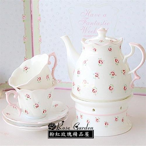 粉紅玫瑰精品屋~田園碎花玫瑰手繪陶瓷茶具套裝~現貨+預購