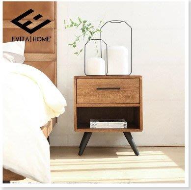 『格倫雅』床頭櫃北歐復古實木儲物櫃臥室床頭櫃原木歐式現代簡約床頭櫃邊櫃^27680